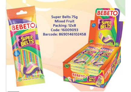 Bebeto Super Belts 75g*12ks - mix